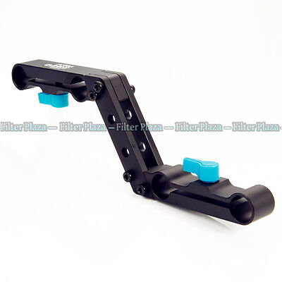 FOTGA Z-Shape Offset Raiser for 15mm Rod Clamp Shoulder Pad DSLR Rig Rail System