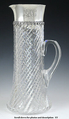 FABULOUS TIFFANY & Co c1900-1910 CUT GLASS & STERLING SILVER PITCHER