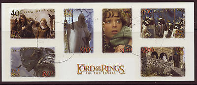 """New Zealand 2002 Lord Of The Rings """"The Twin Towers"""" Set Of 6 Self Adhesive F.u"""