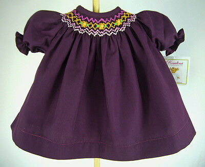"""Purple/Wine Hand-Smocked Dress for 15"""" Dolls such as Bitty Baby Doll Clothes"""