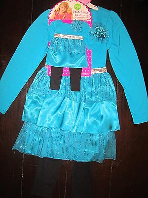 NWT Girls Dollie & Me Tiered Dress+Leggings/doll outfit fits American Girl    10