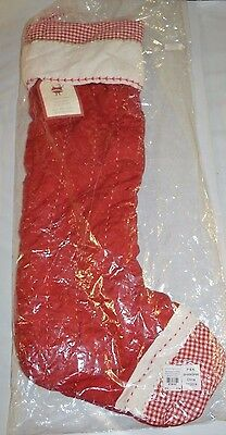 "Pottery Barn Classic Quilted Long Stocking Red Gingham 28""L"