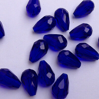 20pcs 8x12mm Teardrop Glass Faceted Loose Crystal Spacer Beads Deep blue ,new~@