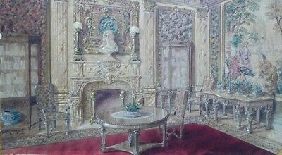Henry Goldsmith Watercolor 1904 new york interior