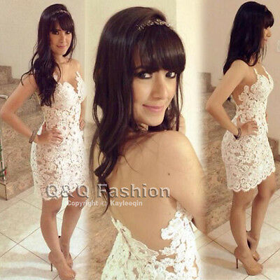 Women Sexy Backless Nude White Lace Mini BodyCon Evening Dress Club Party Top #M