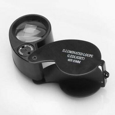 Magnifier Jeweler Eye Jewelry Loupe Loop 40x 25mm Glass Led Light Magnifying