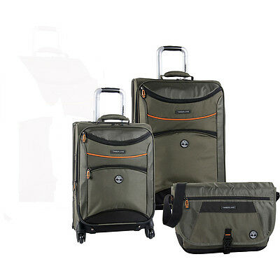 TIMBERLAND ROUTE 4 OLIVE 3 PIECE SPINNER LUGGAGE SET $940 VALUE NEW