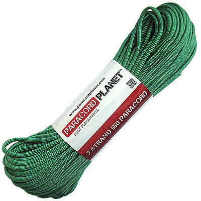 Kelly Green 550 Paracord Mil Spec Type III 7 Strand Parachute Cord 100 ft