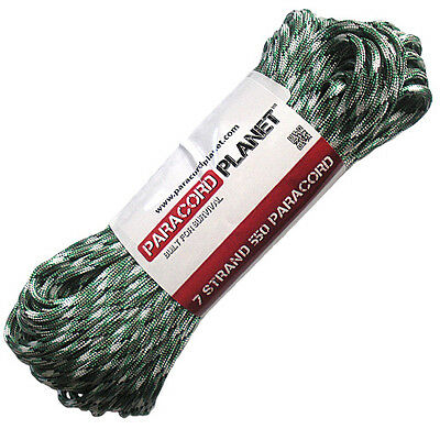 Kelly Green Camo 550 Paracord Mil Spec Type III 7 Strand Parachute Cord 100 ft