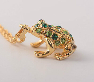Faberge Frog Necklace wite crystals Keren Kopal gold plated pendant charm