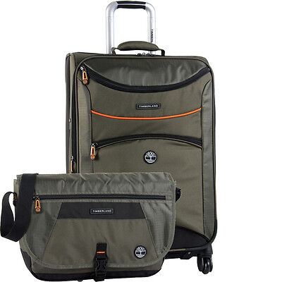 TIMBERLAND ROUTE 4 OLIVE 2 PIECE SPINNER LUGGAGE SET $560 VALUE NEW