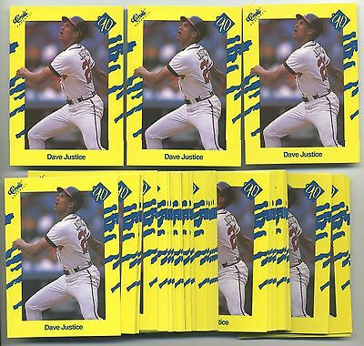 Lot of 50 1990 Classic Dave Justice #T97 Rookie Cards