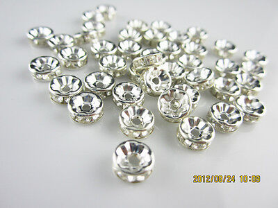 Free shipping NEW Fashion 20pcs 8MM Plated silver crystal spacer beads clear #