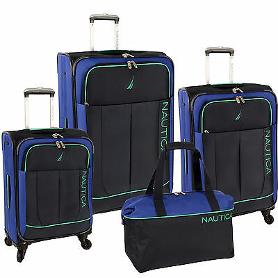 NAUTICA FAIRWIND NAVY BLUE GREEN 4 PIECE SPINNER LUGGAGE SET $1100 VALUE