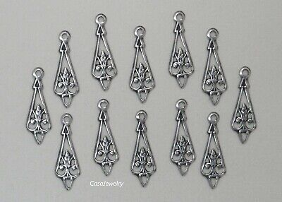 #3415 ANTIQUED SS/P OPEN FILIGREE TEARDROP W/TOP HANG RING - 12 Pc Lot
