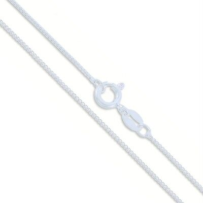 """Sterling Silver Italian Box Necklace 20"""" Chain Nickel Free Solid 925 Italy 1mm"""