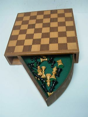 """VINTAGE WOOD CHESS BOARD WITH SWIVEL DRAWER with HAND CARVED PIECES KING 2 3/4"""""""