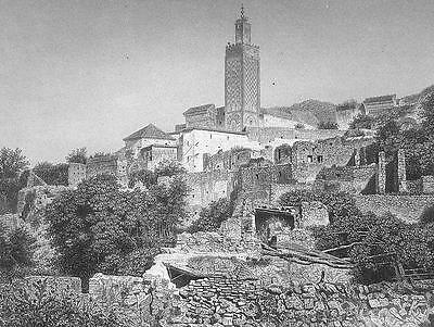 ALGERIA View of Tlemcen & Great Mosque - 1860s Antique Engraving Print