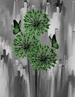 Green Gray Butterlies & Flowers Creative Decorative Wall Art Decor Picture