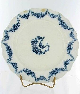 Antique Flow Blue Transfer Dinner Plate Floral 10""