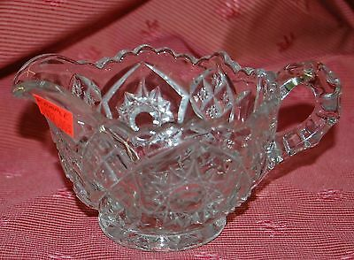 Beautiful Vintage McKEE GLASS Clear Creamer Saw Tooth Opening Hobstar Fan Martec