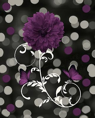 Black White Purple Flower Decorative Wall Art Home Decor Matted Picture