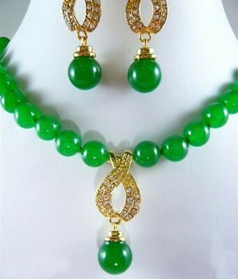 set of green jade bead necklace pendant earrings