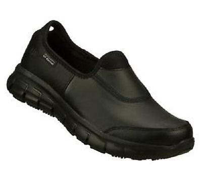 Women's SKECHERS 76536 Black SUR TRACK WORK EH Leather Slip On/Resistant Shoes
