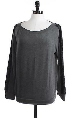 IDEOLOGY Womens M Lace Shirt Top Pull Over Chic Gray Long Sleeve Tee Ladies Sale