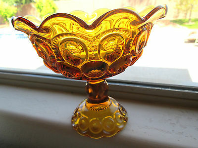 Vintage Large L. E. Smith Moon & Stars Amber Glass Pedestal Compote dish