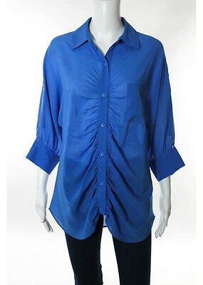 ALICE + OLIVIA Blue Silk 3/4 Sleeve Ruched Front Button Down Shirt Sz M