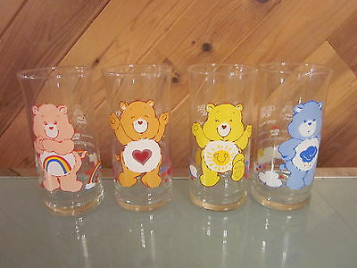 Vtg. 1983 Pizza Hut Promo CARE BEAR Glasses Set Of (4) Collectible NEW
