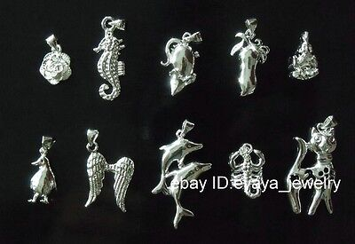 Wholesale 5pcs 925 Sterling Silver mixed Charms Necklace Pendant