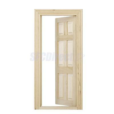 1/12 Scale Dollhouse Miniature Unpainted Wooden Interior 6-Panel Door With Frame