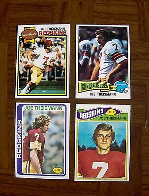 Joe Theismann lot of 4 Vintage Topps cards Yr 75 #416 RC/77 #74/78 #416/ 79 #155