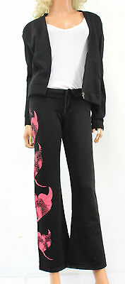 NWT 2PCS HUSTLER RUN DOWN HOODY SWEAT TRACK SUIT SET IN BLACK & PINK SIZE SMALL