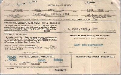 1950's U.S. Marine Corps Mustering Out Payment Voucher