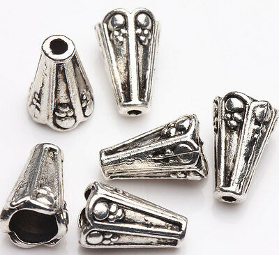 10Pcs Spacer Beads Caps Tibet Silver Conical Delicate Jewelry Making 13*8*4mm
