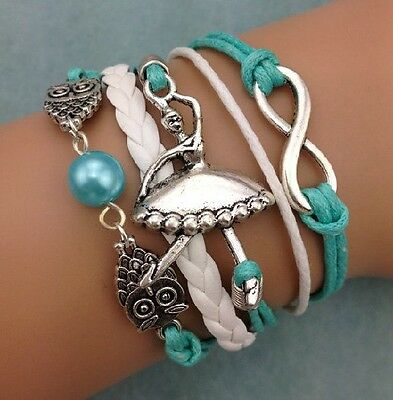 NEW Retro Infinity Ballet girl Owl Pearl Leather Charm Bracelet plated Silver