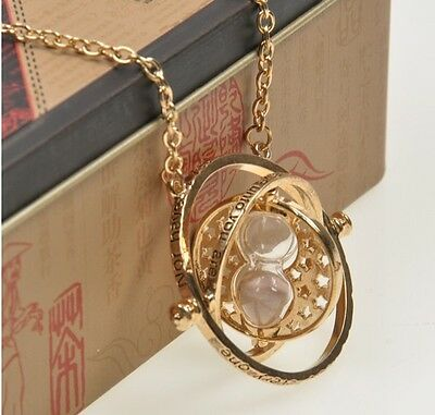 New Harry Potter Turner Time Hourglass Granger Hermione Rotating Spins Necklace