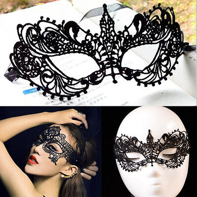 Sexy Black Lace Floral Eye Mask Venetian Masquerade Fancy Party Dress Costume