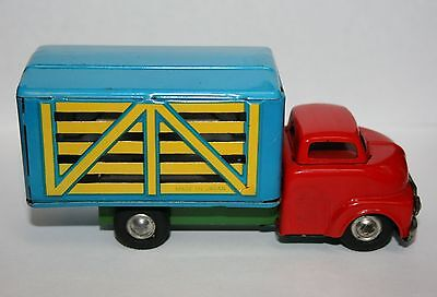 Vintage Made in Japan Tin Metal Farm Cattle Truck Red Blue Green Friction Toy