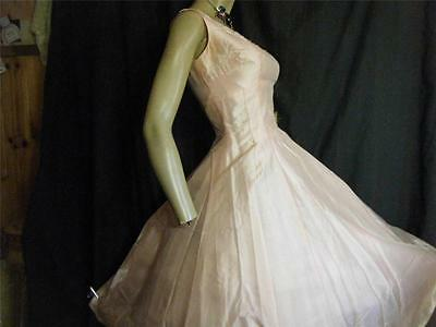 1950s Beaded Silk Fit & Flare Party Dress B34 w26 Faux Pearls