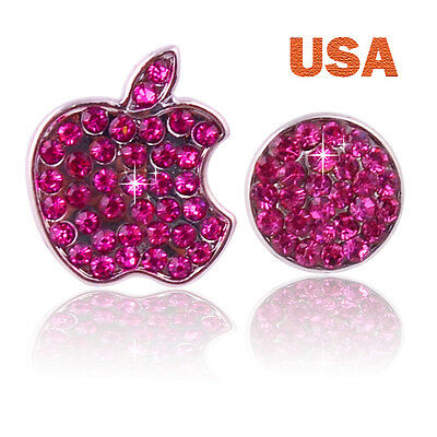 Rose Pink Crystal Bling Home Button Logo Stickers For iPhone 5 5S 4 4S Ipod USA