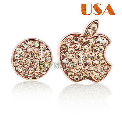 Gold Crystals Bling Deco Home Button Logo Stickers For iPhone 5 5S 4S  IPod USA