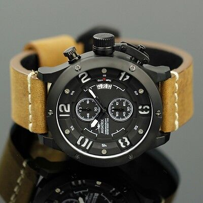INFANTRY Mens Sport Quartz Military Army Leather Lume Flyback Chrono Wrist Watch