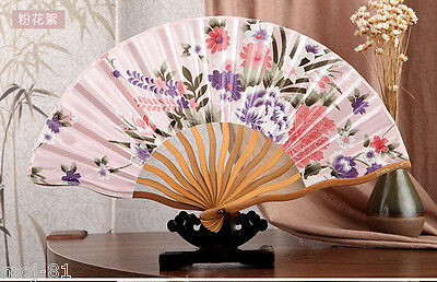 Chinese Japanese Folding Pink Floral Silk Hand Flower Bamboo Asian Pocket Fan