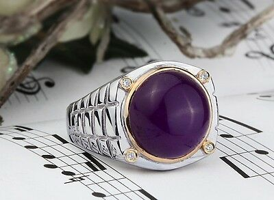 Men Ring with Natural Diamond and Gemstone 925 K Sterling Silver (all sizes)