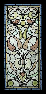 Art Nouveau Leafy Foliage Rare English Antique Stained Glass Window