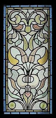 Art Nouveau Leafy Foliage English Antique Stained Glass Window Rare